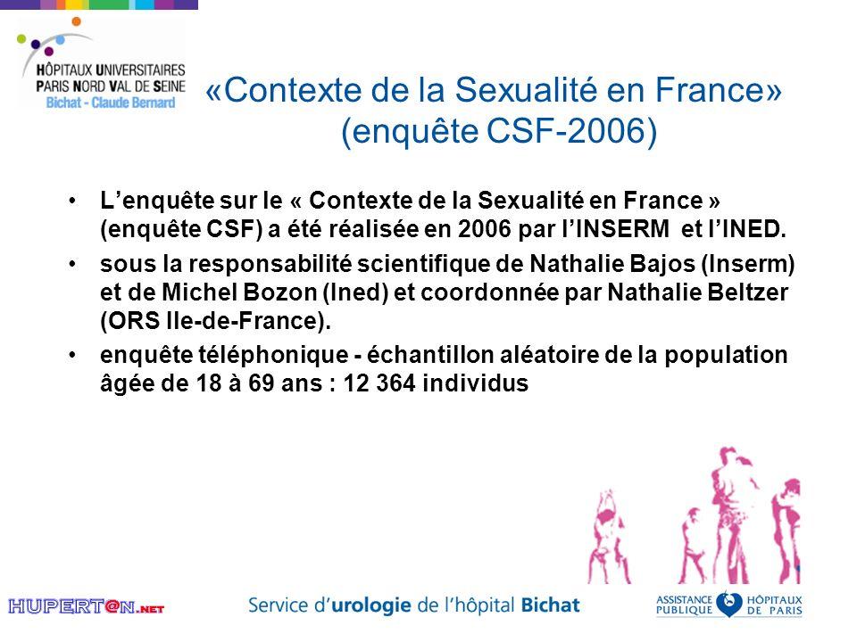 «Contexte de la Sexualité en France» (enquête CSF-2006) Lenquête sur le « Contexte de la Sexualité en France » (enquête CSF) a été réalisée en 2006 pa