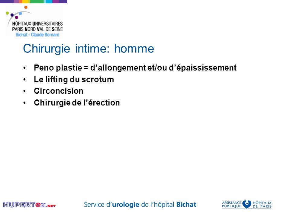 Chirurgie intime: homme Peno plastie = dallongement et/ou dépaississement Le lifting du scrotum Circoncision Chirurgie de lérection