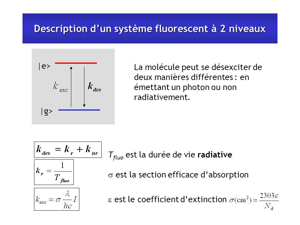 Description dun système fluorescent à 2 niveaux |e> |g> T fluo est la durée de vie radiative est la section efficace dabsorption est le coefficient dextinction La molécule peut se désexciter de deux manières différentes : en émettant un photon ou non radiativement.