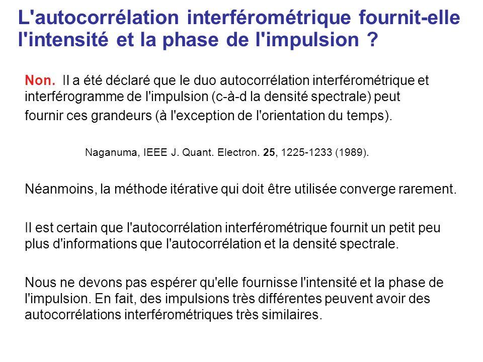 Autocorrélation interférométrique : exemples L étendue des franges (à et ) indique approximativement la largeur de l interférogramme qui est le temps de cohérence.