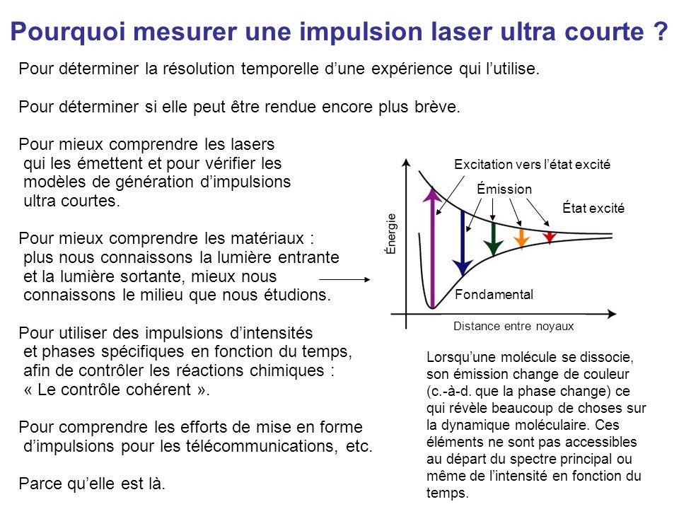Les impulsions laser ultracourtes constituent les phénomènes technologiques les plus brefs jamais créés par lhomme Il est coutumier de générer des impulsions dune durée inférieure à 10 -13 s et les chercheurs parviennent même à générer des impulsions durant à peine quelques femtosecondes (10 -15 s).