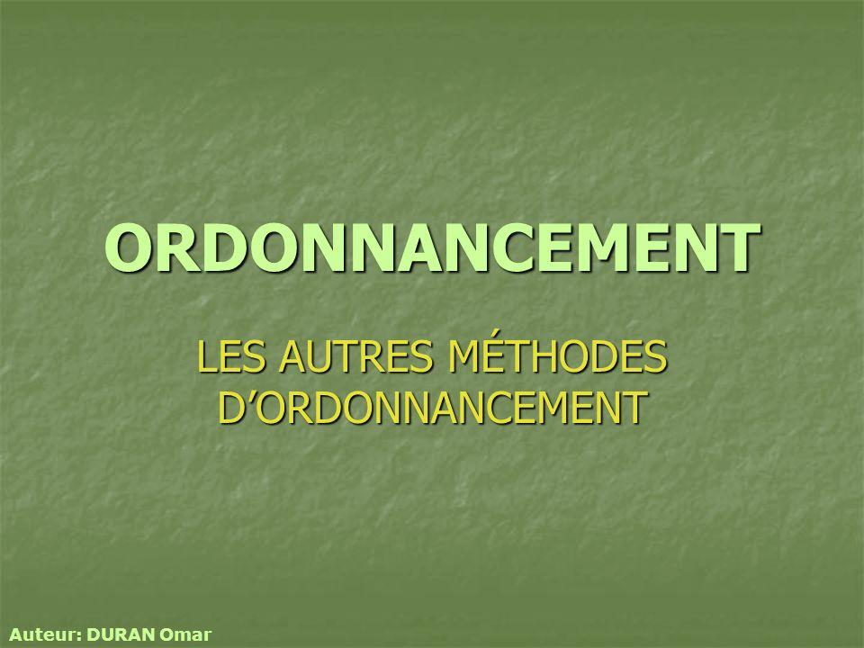 ORDONNANCEMENT LES AUTRES MÉTHODES DORDONNANCEMENT Auteur: DURAN Omar