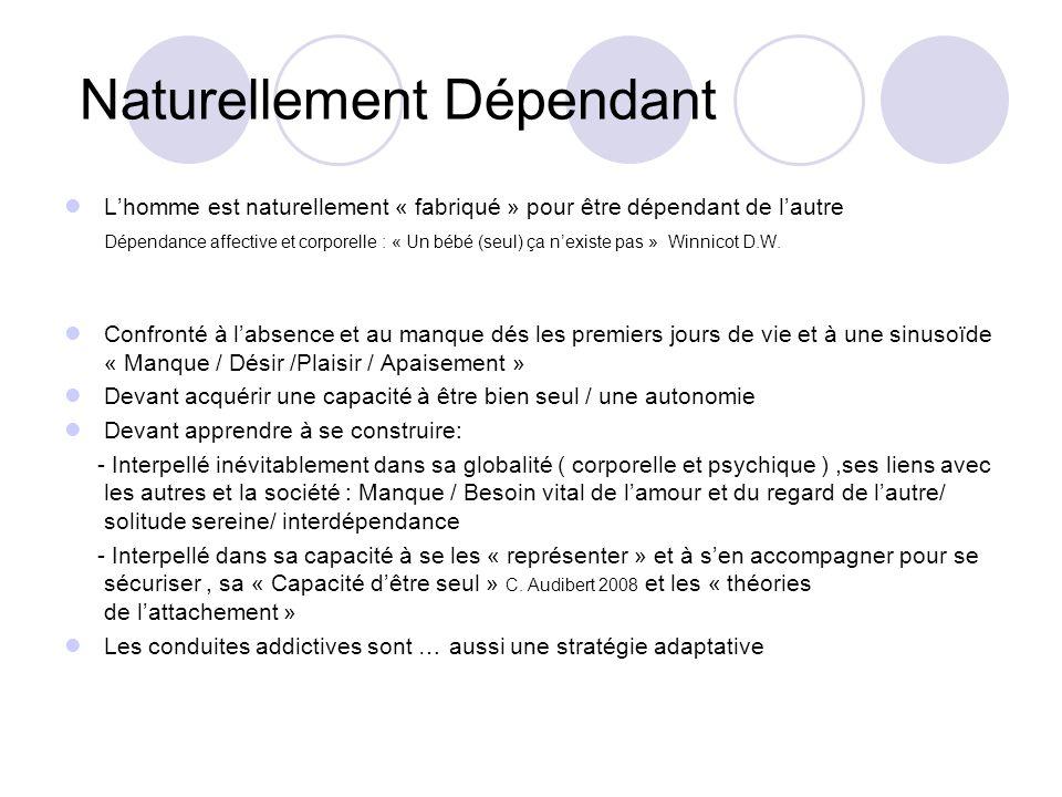 Naturellement Dépendant Lhomme est naturellement « fabriqué » pour être dépendant de lautre Dépendance affective et corporelle : « Un bébé (seul) ça nexiste pas » Winnicot D.W.
