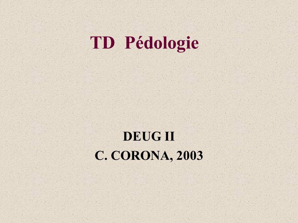 TD Pédologie DEUG II C. CORONA, 2003
