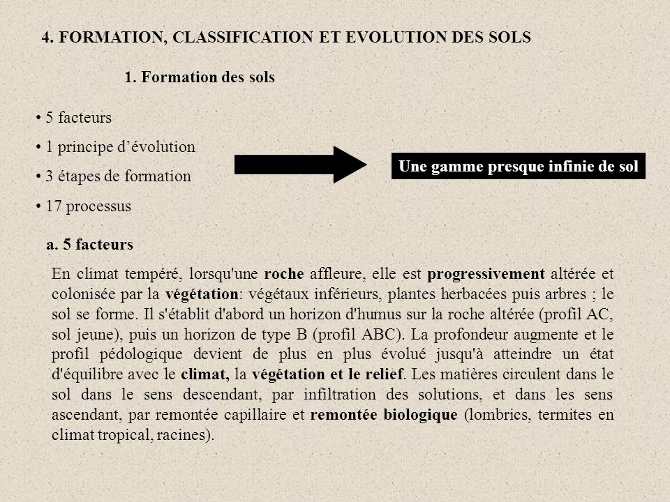 4. FORMATION, CLASSIFICATION ET EVOLUTION DES SOLS 5 facteurs 1 principe dévolution 3 étapes de formation 17 processus Une gamme presque infinie de so