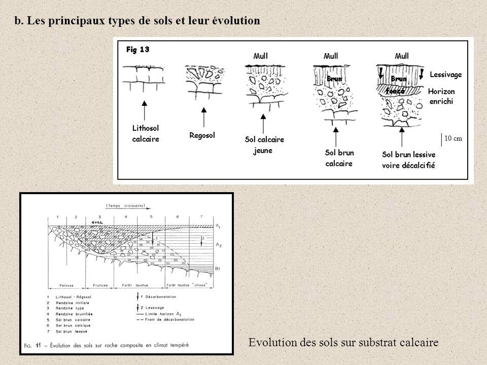 b. Les principaux types de sols et leur évolution Evolution des sols sur substrat calcaire