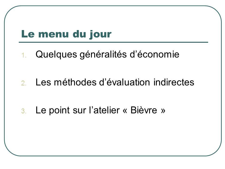Le menu du jour 1. Quelques généralités déconomie 2. Les méthodes dévaluation indirectes 3. Le point sur latelier « Bièvre »