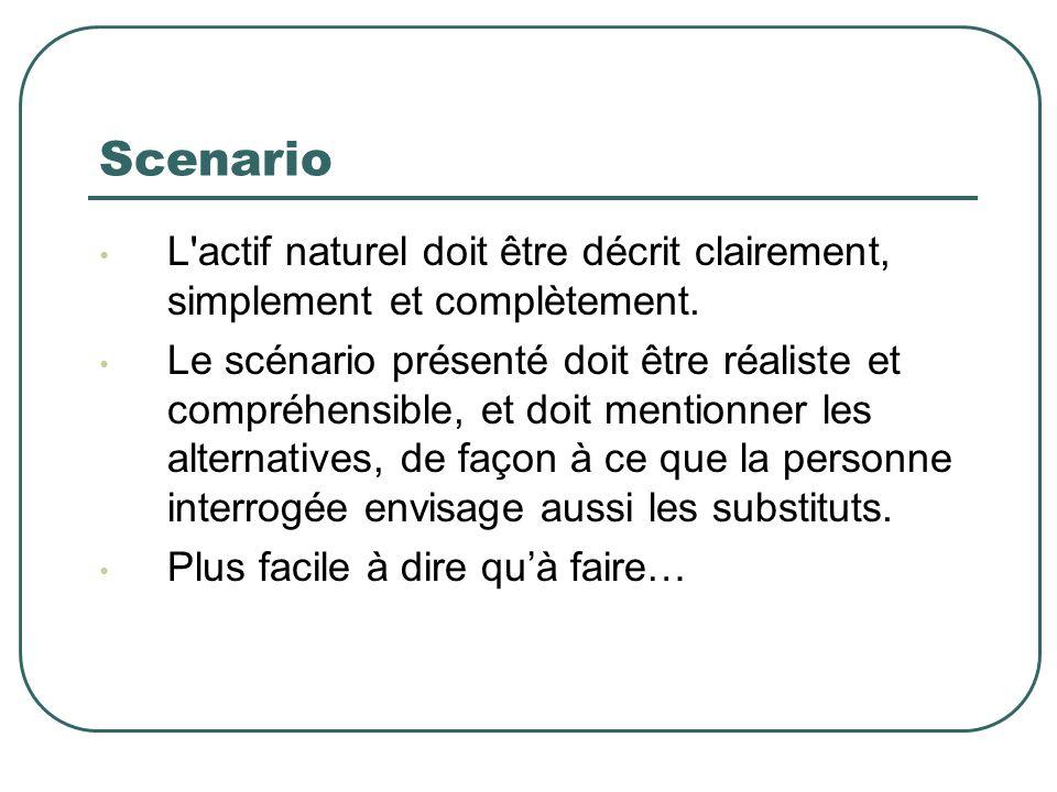 Scenario L'actif naturel doit être décrit clairement, simplement et complètement. Le scénario présenté doit être réaliste et compréhensible, et doit m