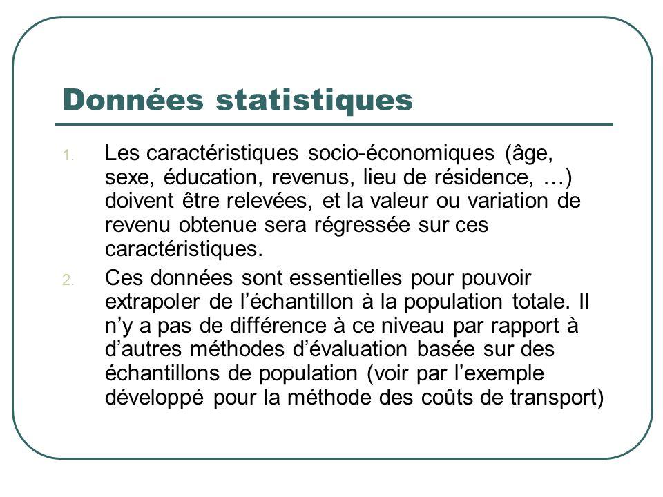Données statistiques 1. Les caractéristiques socio-économiques (âge, sexe, éducation, revenus, lieu de résidence, …) doivent être relevées, et la vale