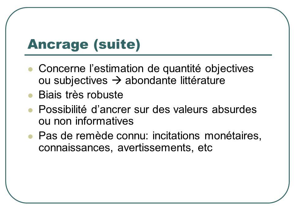 Ancrage (suite) Concerne lestimation de quantité objectives ou subjectives abondante littérature Biais très robuste Possibilité dancrer sur des valeur