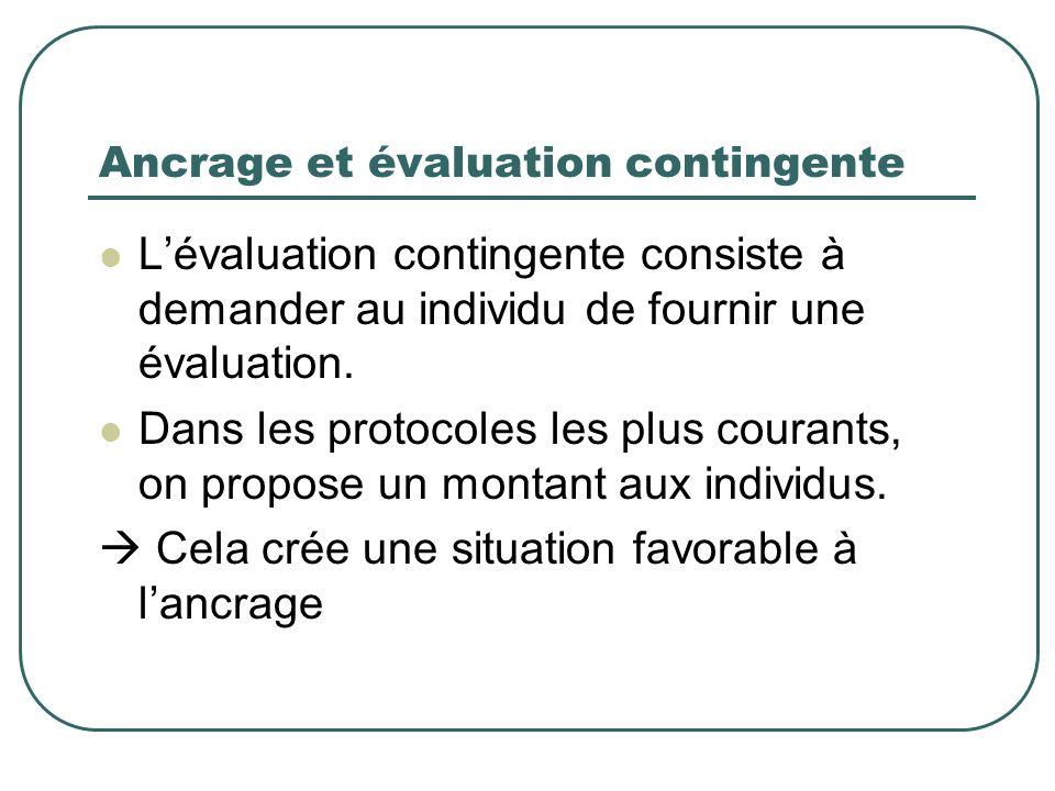 Ancrage et évaluation contingente Lévaluation contingente consiste à demander au individu de fournir une évaluation. Dans les protocoles les plus cour