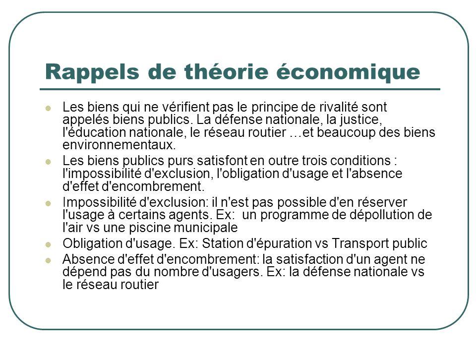 Rappels de théorie économique Les biens qui ne vérifient pas le principe de rivalité sont appelés biens publics. La défense nationale, la justice, l'é