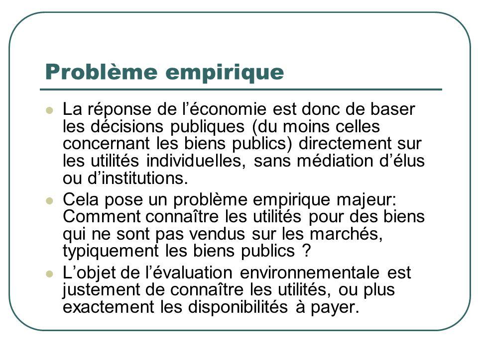 Ancrage et évaluation contingente Lévaluation contingente consiste à demander au individu de fournir une évaluation.
