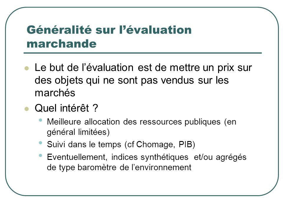 Généralité sur lévaluation marchande Le but de lévaluation est de mettre un prix sur des objets qui ne sont pas vendus sur les marchés Quel intérêt ?