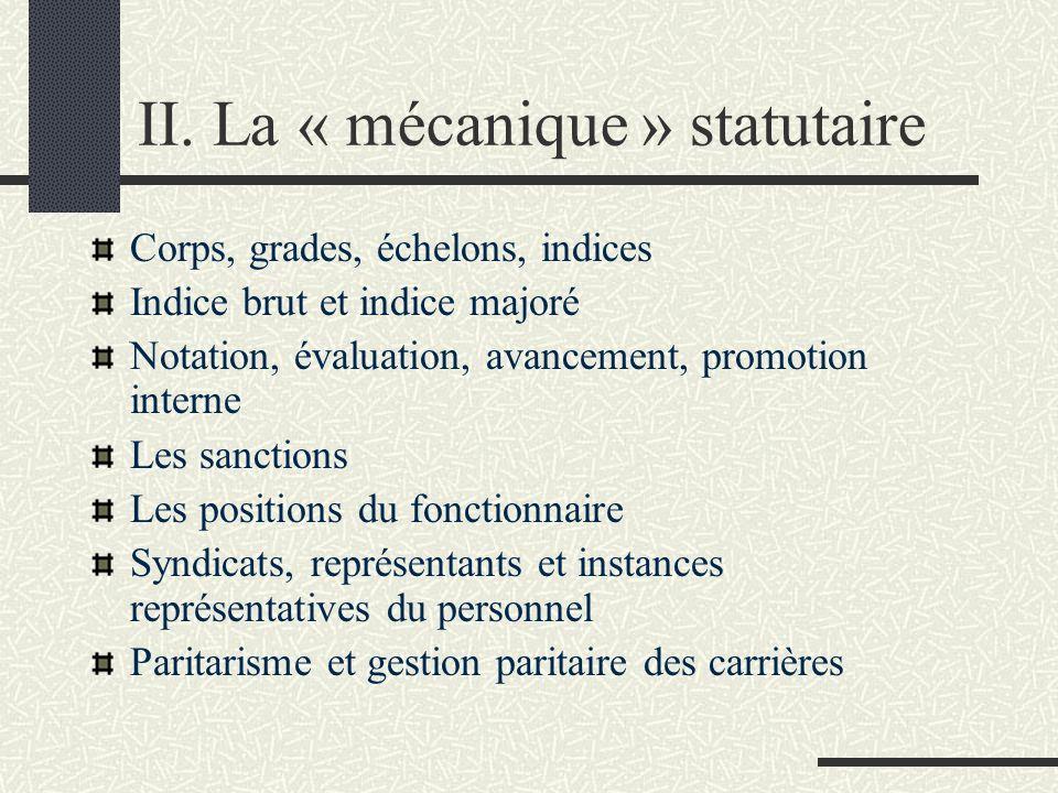 II. La « mécanique » statutaire Corps, grades, échelons, indices Indice brut et indice majoré Notation, évaluation, avancement, promotion interne Les