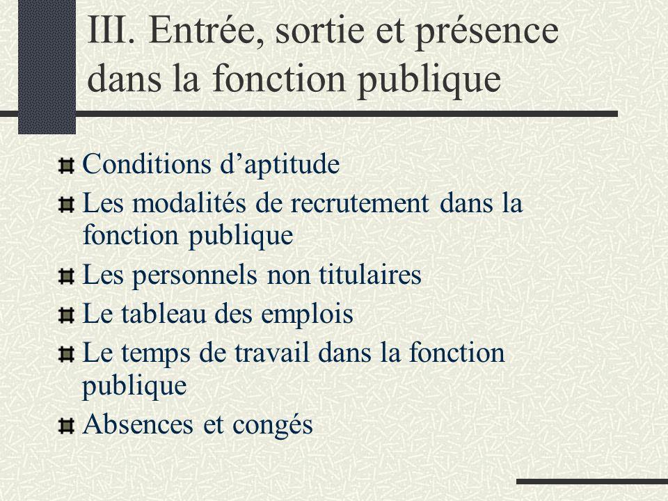 III. Entrée, sortie et présence dans la fonction publique Conditions daptitude Les modalités de recrutement dans la fonction publique Les personnels n