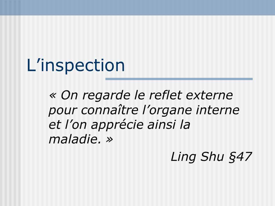 Linspection « On regarde le reflet externe pour connaître lorgane interne et lon apprécie ainsi la maladie. » Ling Shu §47