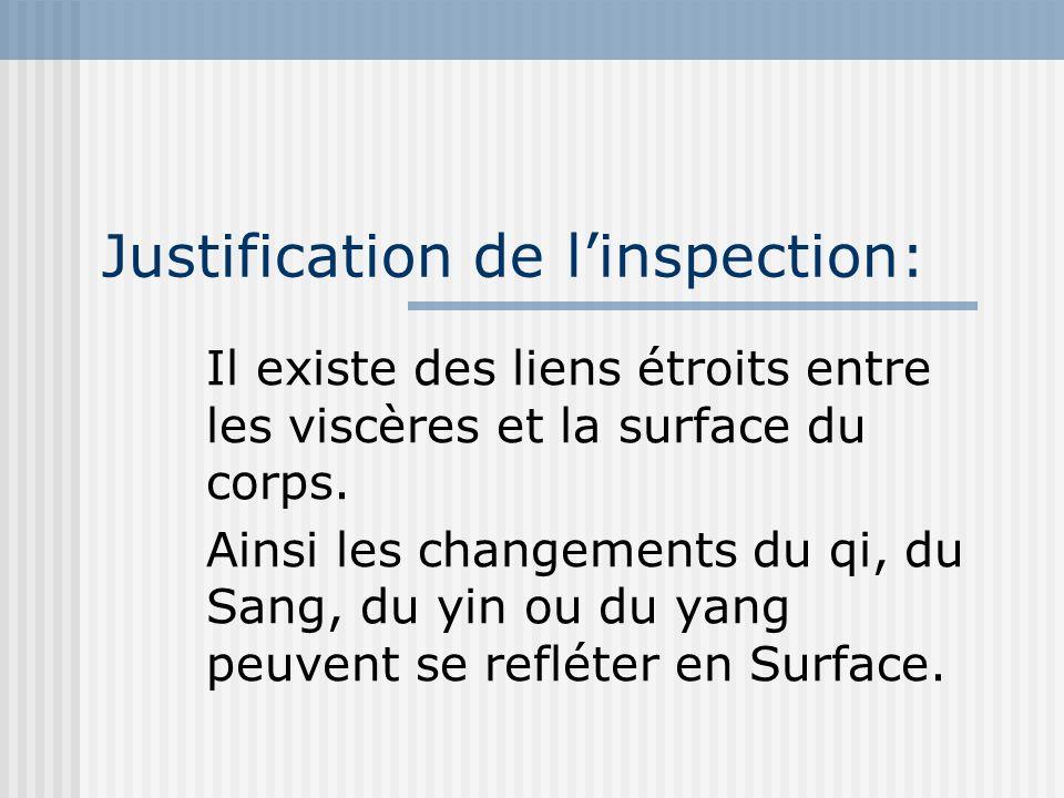 Justification de linspection: Il existe des liens étroits entre les viscères et la surface du corps. Ainsi les changements du qi, du Sang, du yin ou d