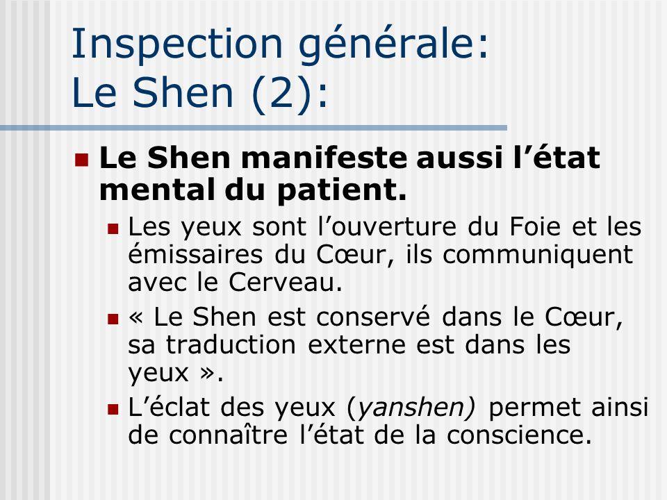 Inspection générale: Le Shen (2): Le Shen manifeste aussi létat mental du patient. Les yeux sont louverture du Foie et les émissaires du Cœur, ils com
