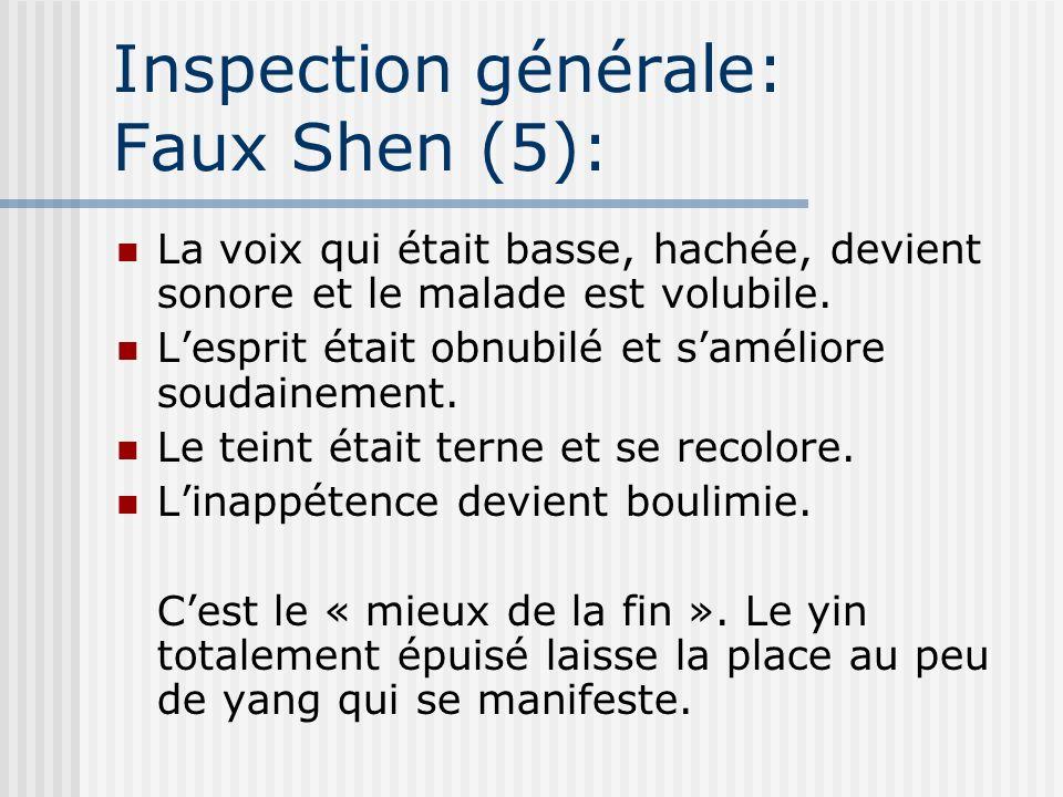 Inspection générale: Faux Shen (5): La voix qui était basse, hachée, devient sonore et le malade est volubile. Lesprit était obnubilé et saméliore sou