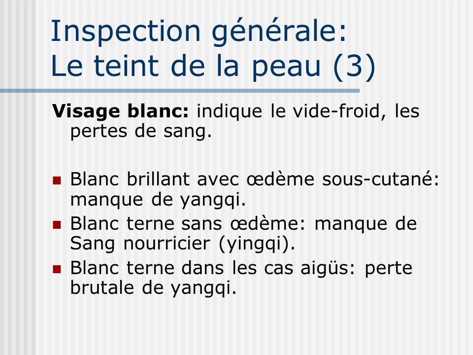 Inspection générale: Le teint de la peau (3) Visage blanc: indique le vide-froid, les pertes de sang. Blanc brillant avec œdème sous-cutané: manque de