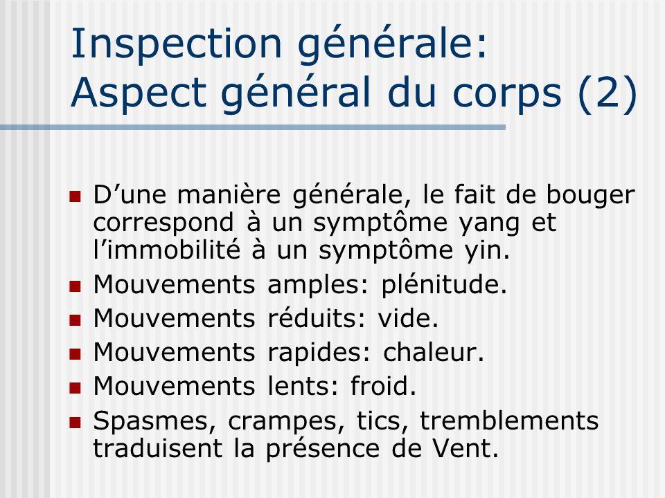 Inspection générale: Aspect général du corps (2) Dune manière générale, le fait de bouger correspond à un symptôme yang et limmobilité à un symptôme y