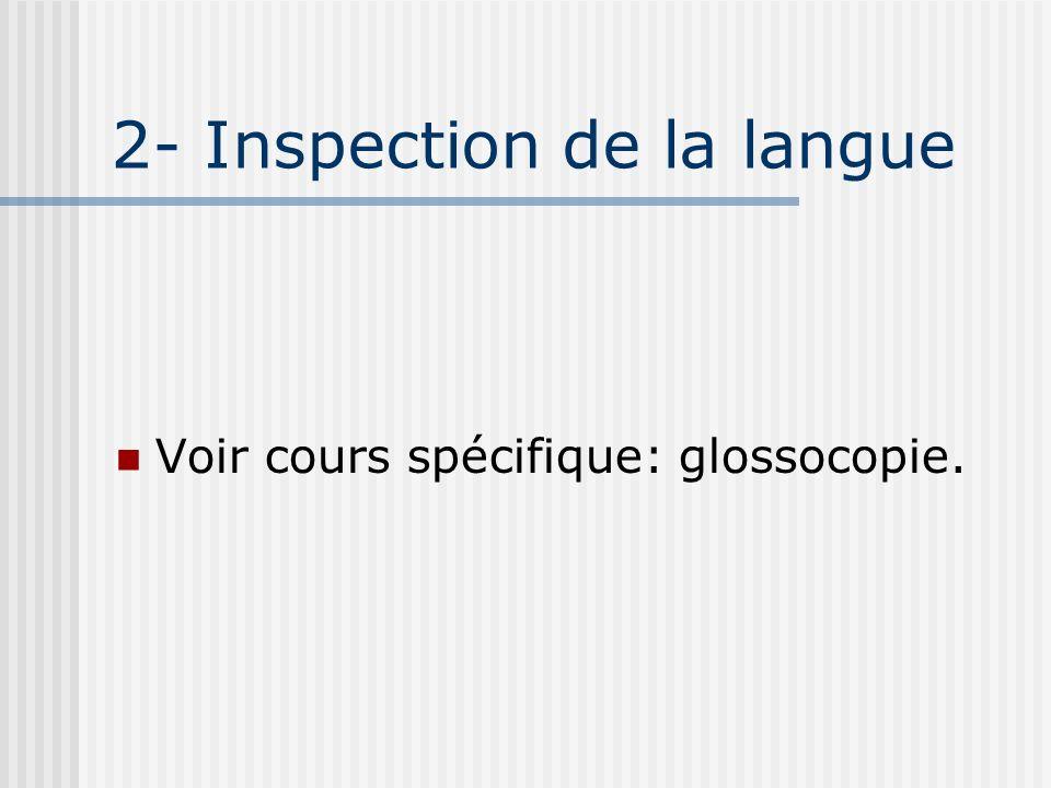 2- Inspection de la langue Voir cours spécifique: glossocopie.