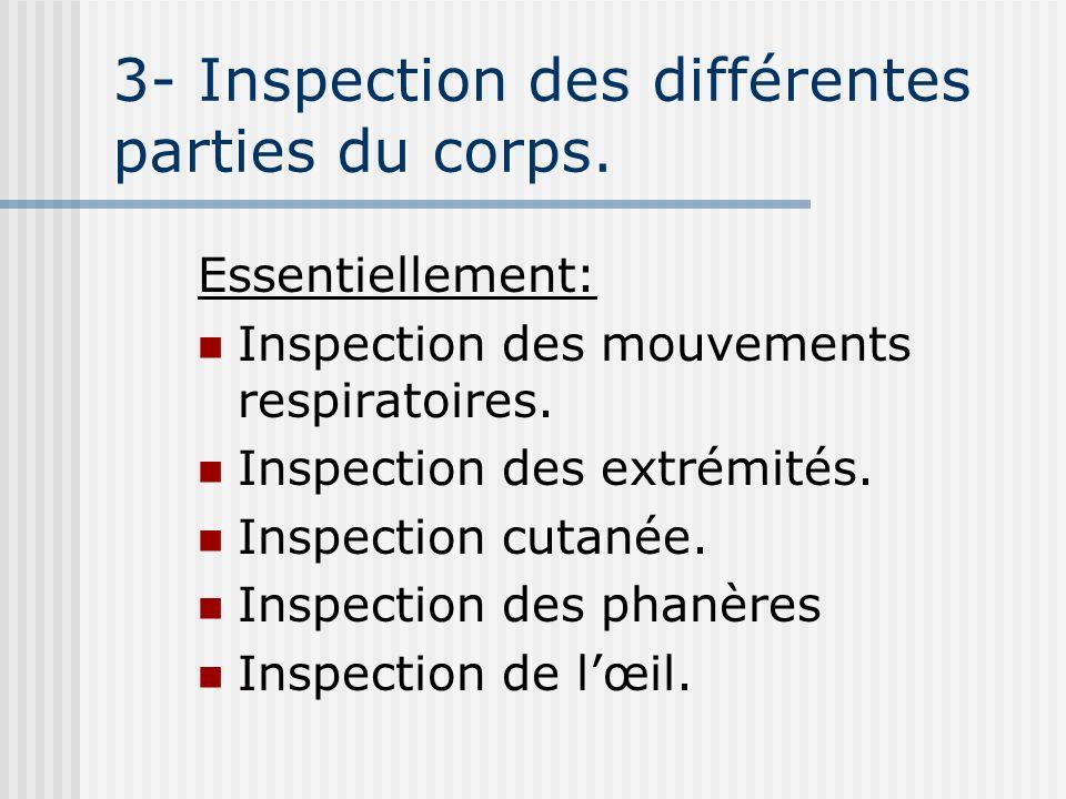 3- Inspection des différentes parties du corps. Essentiellement: Inspection des mouvements respiratoires. Inspection des extrémités. Inspection cutané