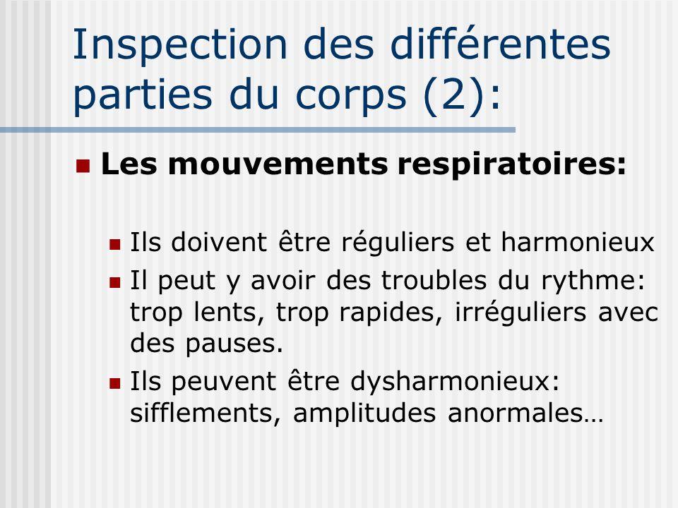 Inspection des différentes parties du corps (2): Les mouvements respiratoires: Ils doivent être réguliers et harmonieux Il peut y avoir des troubles d