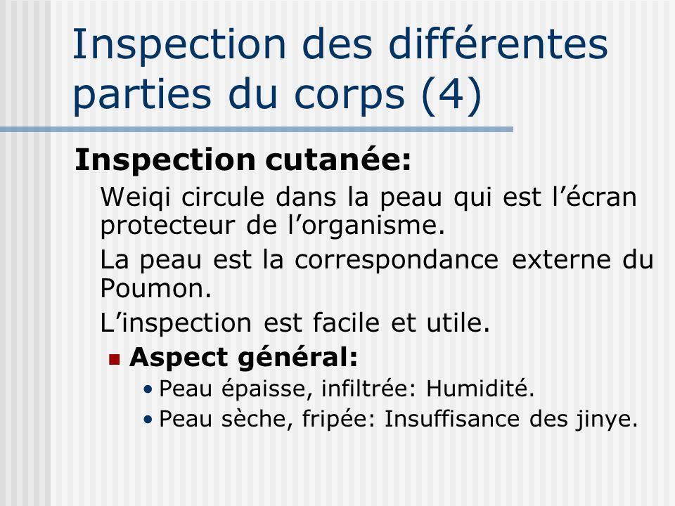 Inspection des différentes parties du corps (4) Inspection cutanée: Weiqi circule dans la peau qui est lécran protecteur de lorganisme. La peau est la