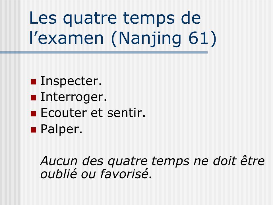 Les quatre temps de lexamen (Nanjing 61) Inspecter. Interroger. Ecouter et sentir. Palper. Aucun des quatre temps ne doit être oublié ou favorisé.