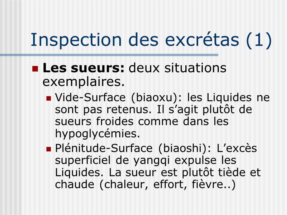 Inspection des excrétas (1) Les sueurs: deux situations exemplaires. Vide-Surface (biaoxu): les Liquides ne sont pas retenus. Il sagit plutôt de sueur