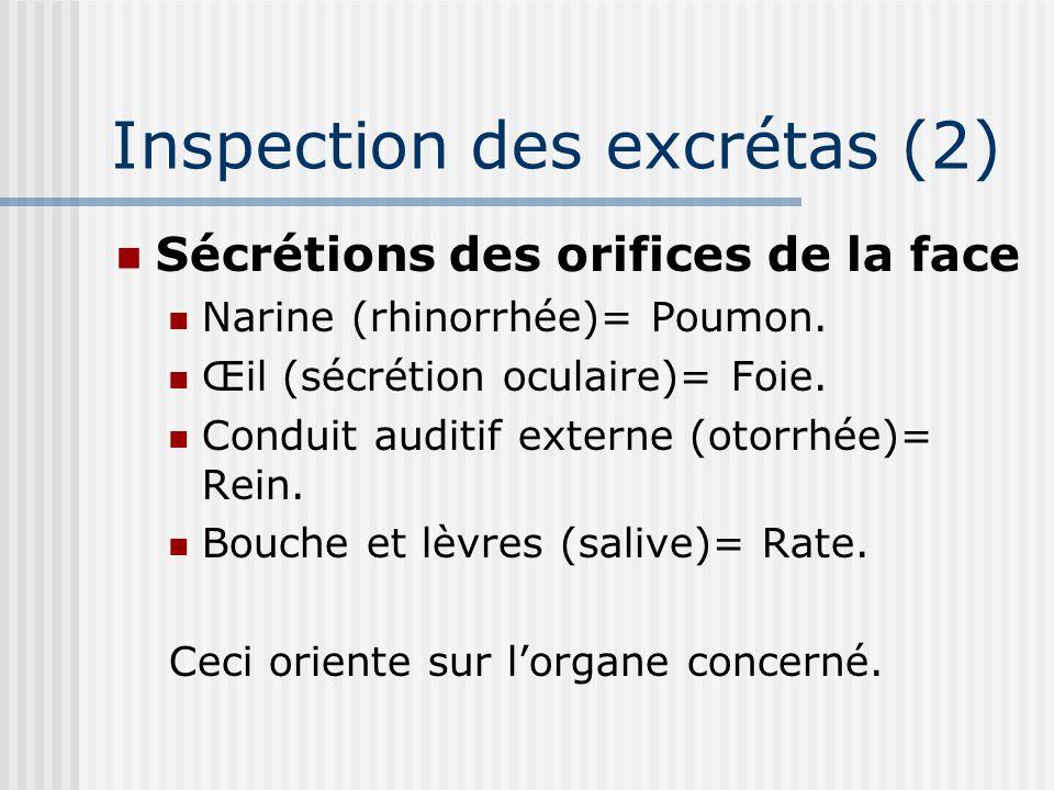 Inspection des excrétas (2) Sécrétions des orifices de la face Narine (rhinorrhée)= Poumon. Œil (sécrétion oculaire)= Foie. Conduit auditif externe (o