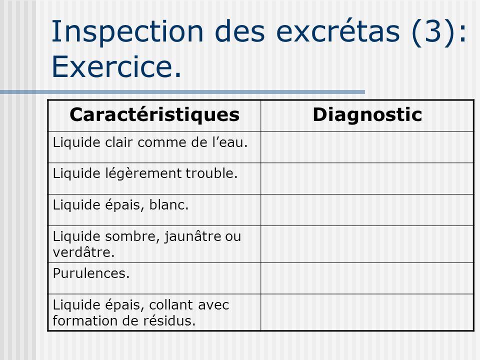 Inspection des excrétas (3): Exercice. CaractéristiquesDiagnostic Liquide clair comme de leau. Liquide légèrement trouble. Liquide épais, blanc. Liqui