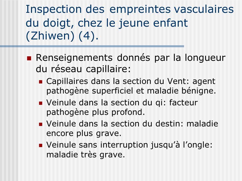 Inspection des empreintes vasculaires du doigt, chez le jeune enfant (Zhiwen) (4). Renseignements donnés par la longueur du réseau capillaire: Capilla