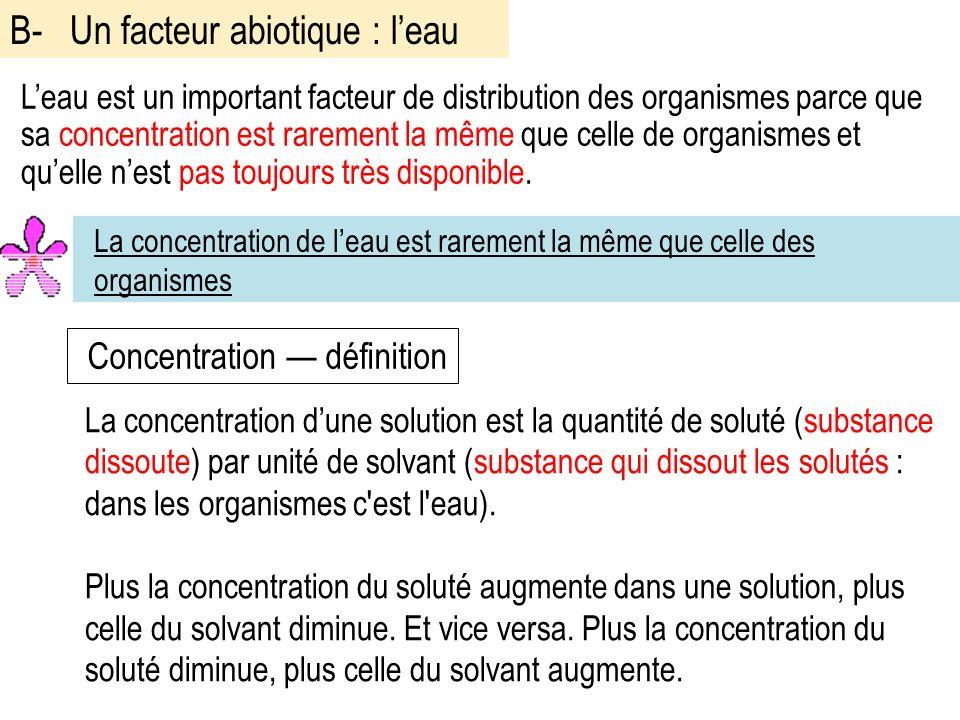 Leau est un important facteur de distribution des organismes parce que sa concentration est rarement la même que celle de organismes et quelle nest pas toujours très disponible.