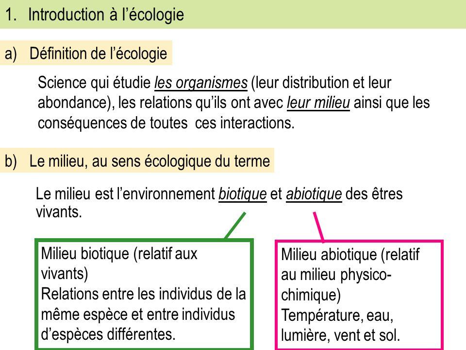 1.Introduction à lécologie Science qui étudie les organismes (leur distribution et leur abondance), les relations quils ont avec leur milieu ainsi que les conséquences de toutes ces interactions.