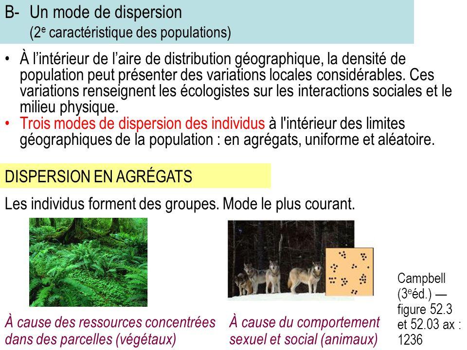 B-Un mode de dispersion (2 e caractéristique des populations) À lintérieur de laire de distribution géographique, la densité de population peut présenter des variations locales considérables.