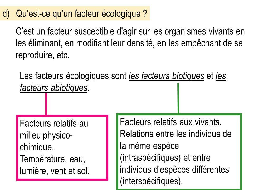 d)Quest-ce quun facteur écologique .