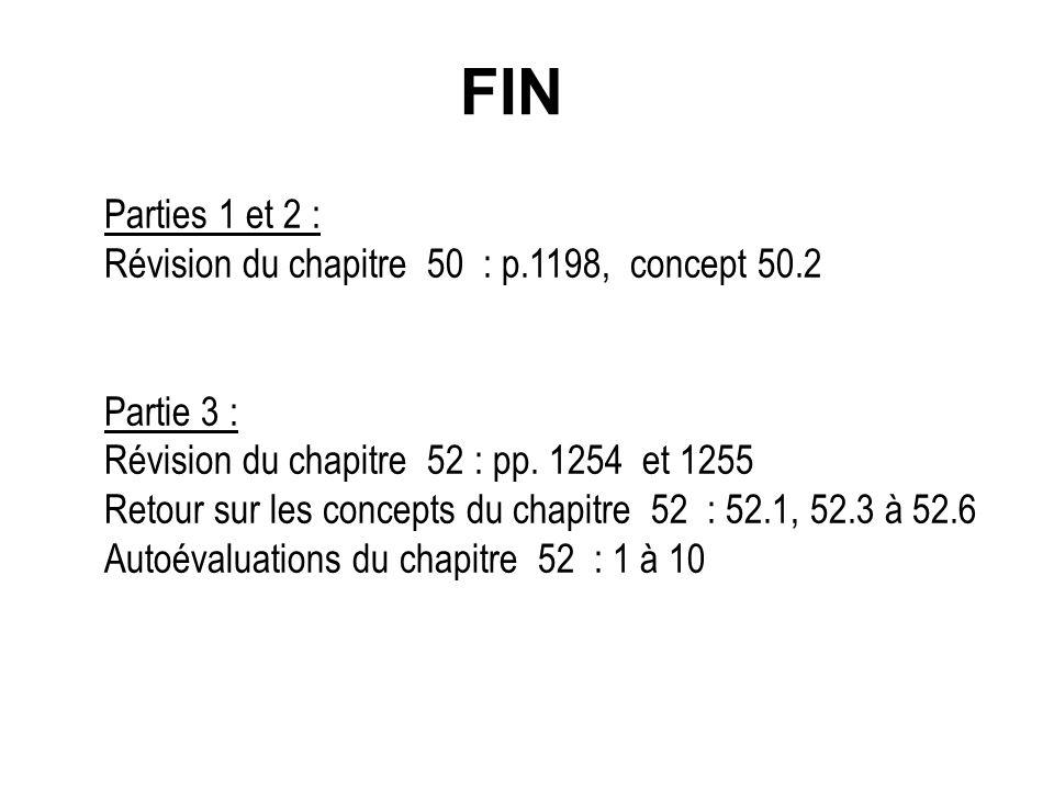 FIN Parties 1 et 2 : Révision du chapitre 50 : p.1198, concept 50.2 Partie 3 : Révision du chapitre 52 : pp.