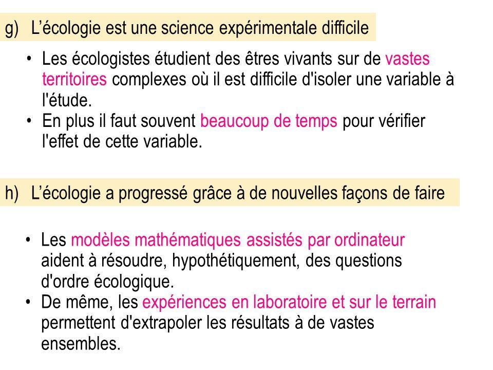 g)Lécologie est une science expérimentale difficile Les écologistes étudient des êtres vivants sur de vastes territoires complexes où il est difficile d isoler une variable à l étude.