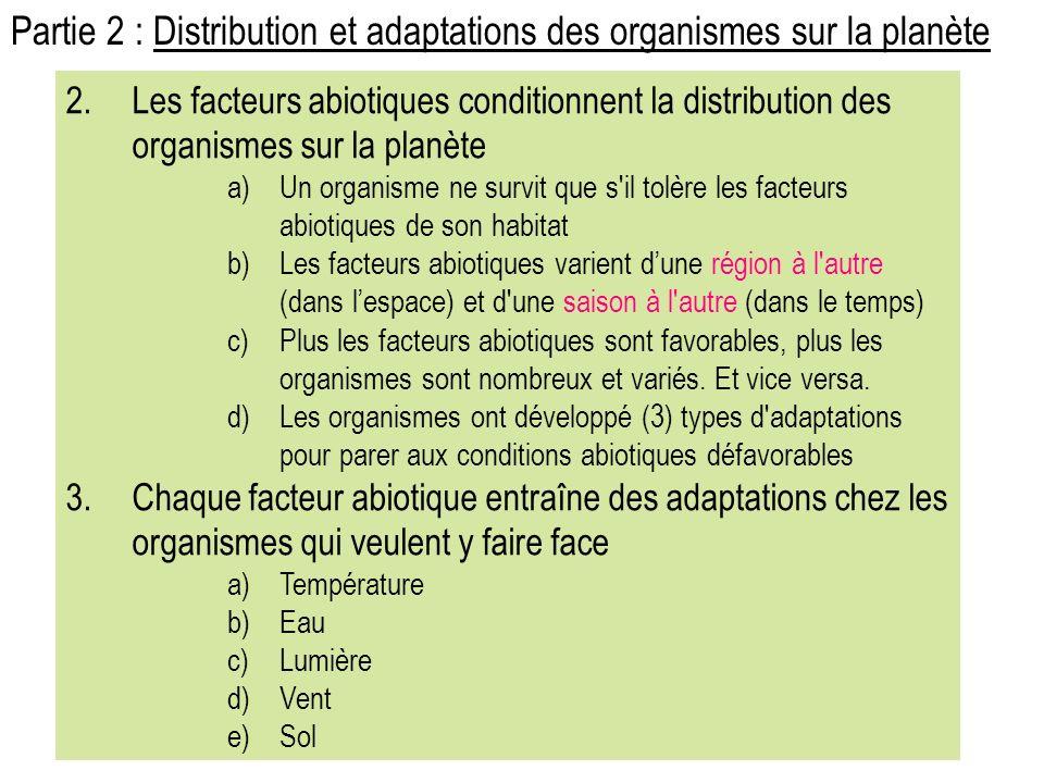 2.Les facteurs abiotiques conditionnent la distribution des organismes sur la planète a)Un organisme ne survit que s il tolère les facteurs abiotiques de son habitat b)Les facteurs abiotiques varient dune région à l autre (dans lespace) et d une saison à l autre (dans le temps) c)Plus les facteurs abiotiques sont favorables, plus les organismes sont nombreux et variés.