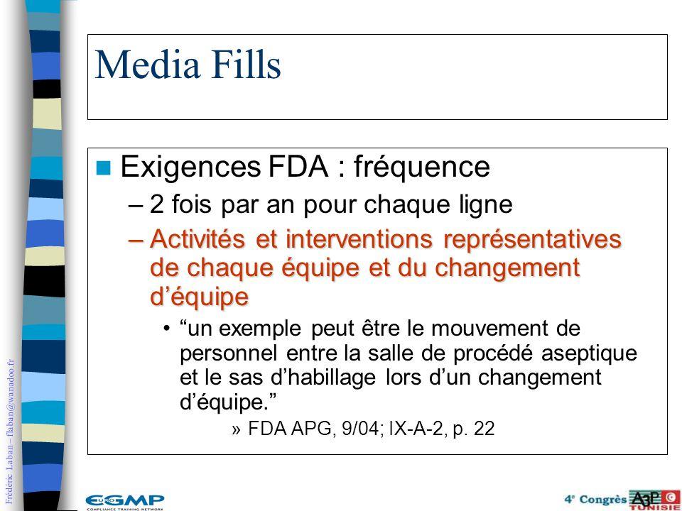 Frédéric Laban – flaban@wanadoo.fr Media Fills Exigences FDA : fréquence –2 fois par an pour chaque ligne –Activités et interventions représentatives