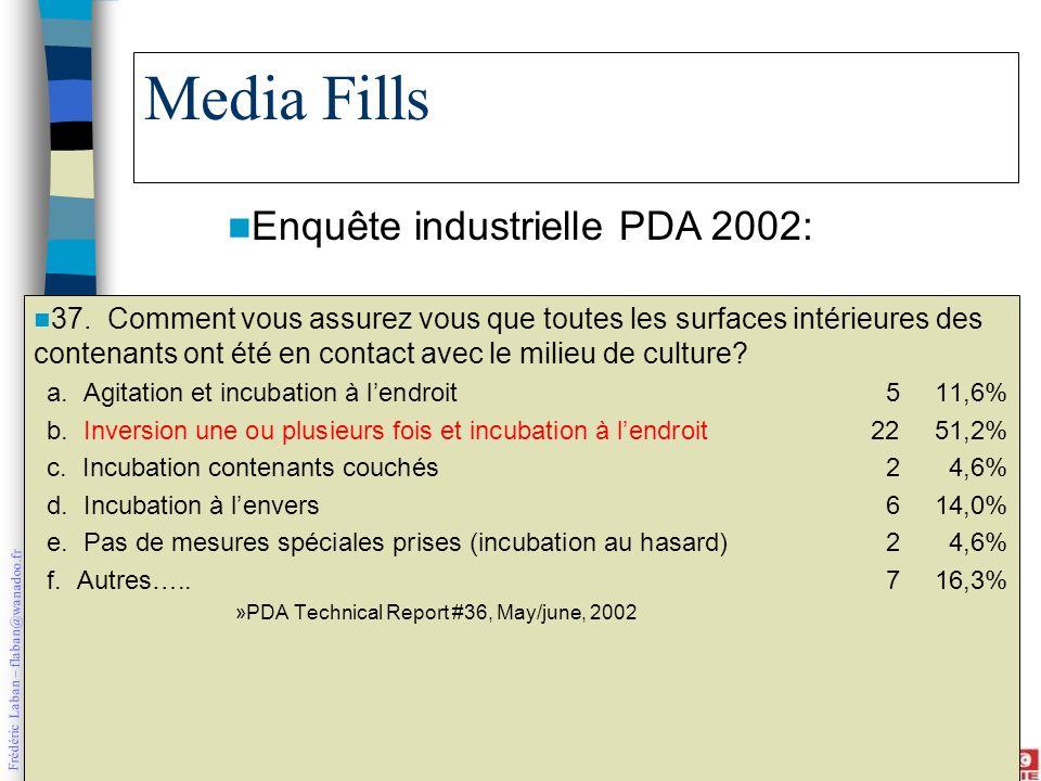 Frédéric Laban – flaban@wanadoo.fr Media Fills 37. Comment vous assurez vous que toutes les surfaces intérieures des contenants ont été en contact ave