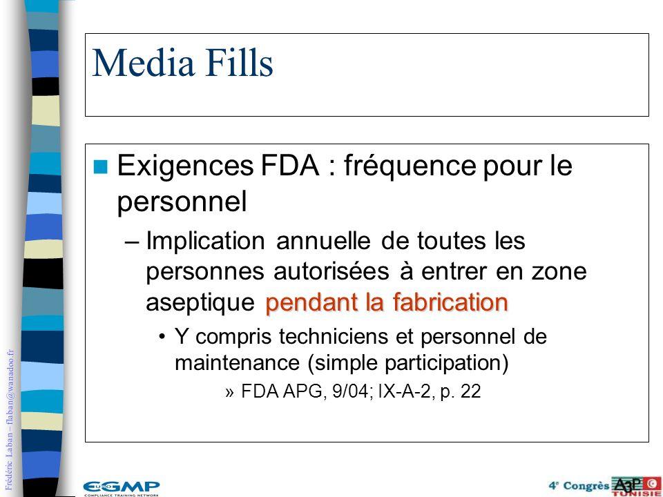 Frédéric Laban – flaban@wanadoo.fr Media Fills Exigences FDA : fréquence pour le personnel pendant la fabrication –Implication annuelle de toutes les