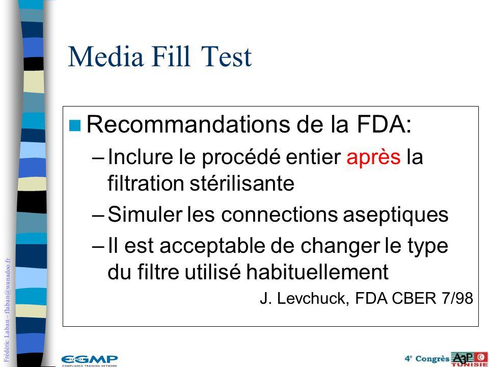 Frédéric Laban – flaban@wanadoo.fr Recommandations de la FDA: –Inclure le procédé entier après la filtration stérilisante –Simuler les connections ase