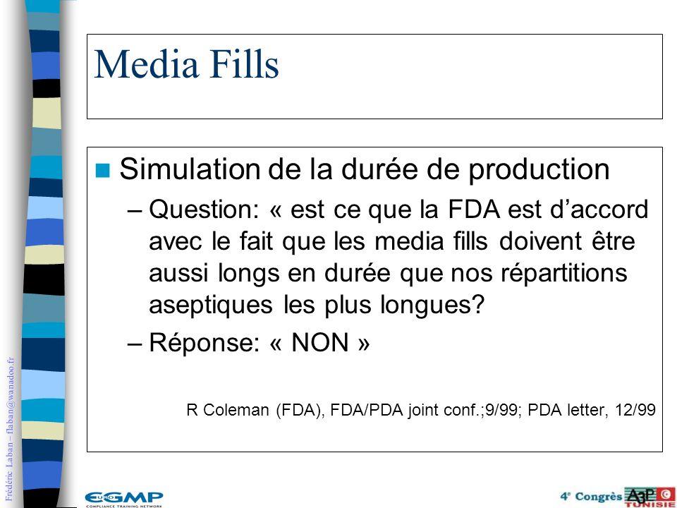 Frédéric Laban – flaban@wanadoo.fr Media Fills Simulation de la durée de production –Question: « est ce que la FDA est daccord avec le fait que les me