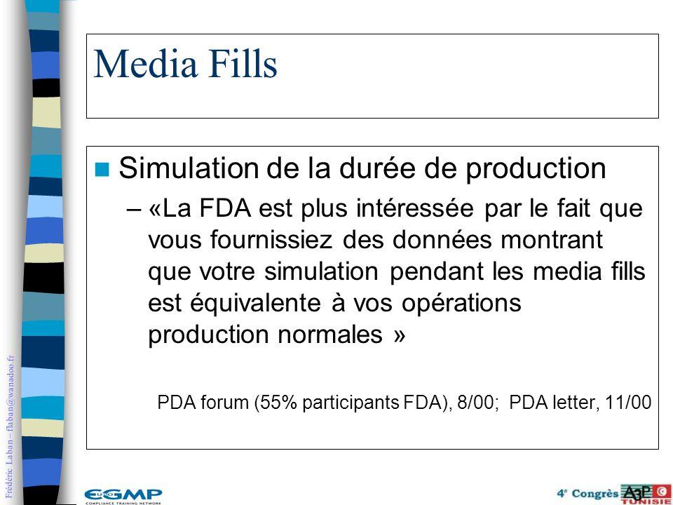 Frédéric Laban – flaban@wanadoo.fr Media Fills Simulation de la durée de production –«La FDA est plus intéressée par le fait que vous fournissiez des