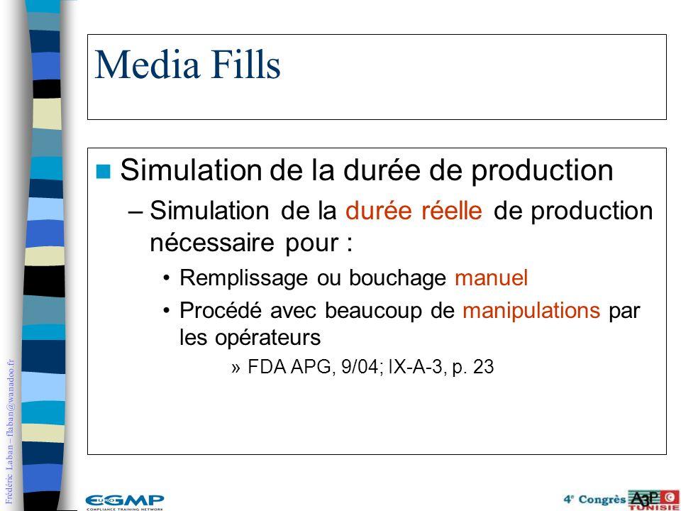 Frédéric Laban – flaban@wanadoo.fr Media Fills Simulation de la durée de production –Simulation de la durée réelle de production nécessaire pour : Rem