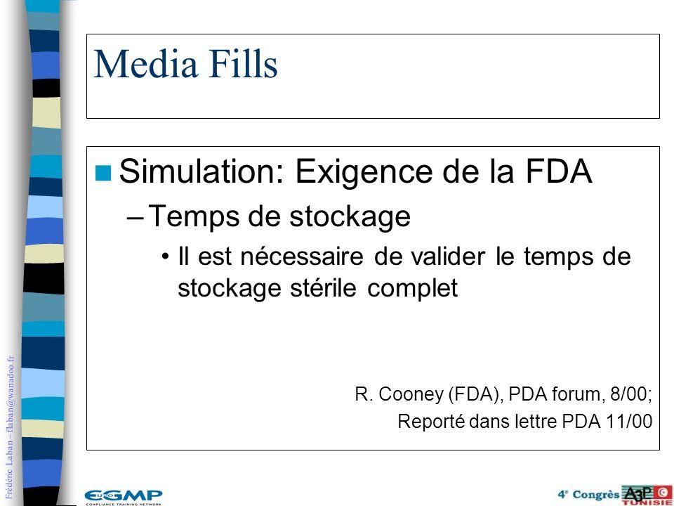 Frédéric Laban – flaban@wanadoo.fr Media Fills Simulation: Exigence de la FDA –Temps de stockage Il est nécessaire de valider le temps de stockage sté